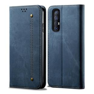 For OPPO Reno 3 Pro Denim Texture Casual Style Horizontal Flip Leather Case with Holder & Card Slots & Wallet(Blue)