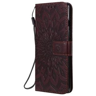 For OnePlus 8 Pressed Printing Sunflower Pattern Horizontal Flip PU Leather Case with Holder & Card Slots & Wallet & Lanyard(Brown)