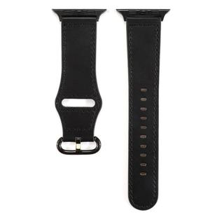 For Apple Watch Series 6 & SE & 5 & 4 44mm / 3 & 2 & 1 42mm Solid Color Genuine Leather Watchband(Black)