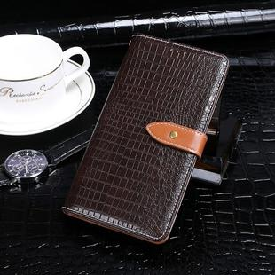 For OPPO A12 idewei Crocodile Texture Horizontal Flip Leather Case with Holder & Card Slots & Wallet(Dark Brown)
