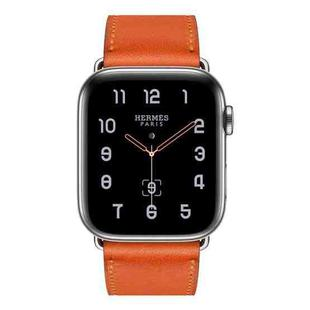 For Apple Watch Series 6 & SE & 5 & 4 40mm / 3 & 2 & 1 38mm Replacement Leather Strap Watchband(Orange)