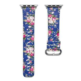 For Apple Watch Series 6 & SE & 5 & 4 40mm / 3 & 2 & 1 38mm Floral Leather Watchband(F19)