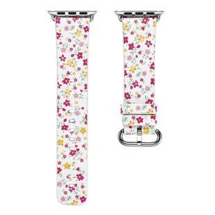 For Apple Watch Series 6 & SE & 5 & 4 44mm / 3 & 2 & 1 42mm Floral Leather Watchband(F5)