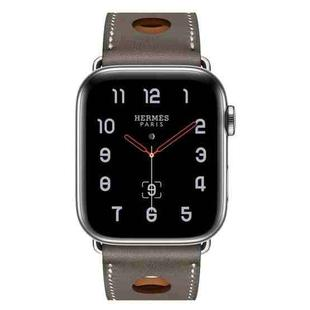 For Apple Watch Series 6 & SE & 5 & 4 44mm / 3 & 2 & 1 42mm Leather Three Holes Replacement Strap Watchband(Grey)