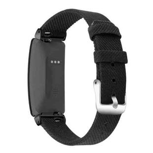 For Fitbit Inspire HR Nylon Canvas Strap Metal Connector Size: Large Size(Black)
