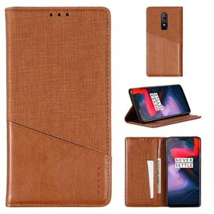 For OnePlus 6 MUXMA MX109 Horizontal Flip Leather Case with Holder & Card Slot & Wallet(Brown)