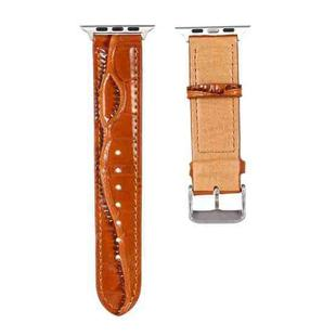 For Apple Watch Series 6 & SE & 5 & 4 44mm / 3 & 2 & 1 42mm Crocodile Texture Leather Wrist Strap(Brown)