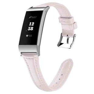 For Fitbit Charge 3 / 4 Slim Steel Head Leather Strap(Pink)