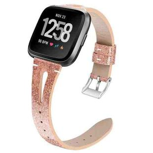 For Fitbit Versa 2 Top Layer Cowhide Pointed Tail Open Leather Strap(Shining Rose Gold)