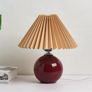 Pleated Lampshade Cozy Bedside Night Light Modern Ceramic Desk Lamp 220V(Wine Red Body+Coffee Cover)