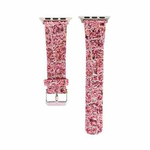 For Apple Watch Series 6 & SE & 5 & 4 40mm / 3 & 2 & 1 38mm Glitter Sequins Leather Replacement Strap Watchband(Pink Silver)