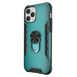 For iPhone 12 / 12 Pro Magnetic Frosted PC + Matte TPU Shockproof Case with Ring Holder(Glistening Green)