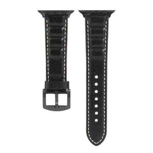 Genuine Leather Watchband For Apple Watch Series 6 & SE & 5 & 4 44mm / 3 & 2 & 1 42mm(Black)