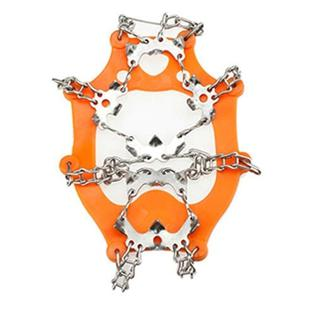 One Pair 19 Teeth Anti-Slip Ice Gripper Hiking Climbing Chain Shoes Covers(Orange)