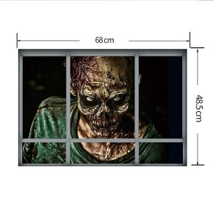 Creative 3D Fake Windows Wall Stickers Halloween Zombie Stickers Living Room Bedroom Decoration Supplies, Size: 48.5 * 68cm