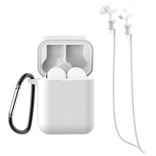 For Xiaomi Air 3 in 1 Earphone Silicone Protective Case + Anti-lost Rope + Hook Set(White)