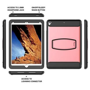 For iPad 9.7 (2018) & iPad 9.7 (2017)  PC+Silicone Shock Resistant Protective Back Cover Case With Holder(Pink)