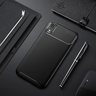 Beetle Shape Carbon Fiber Texture Shockproof TPU Case for iPhone XR(Black)