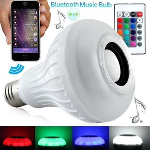 12W RGB LED Bluetooth Speaker Light, E27 Energy Saving Lamps with Remote Controller, AC 100-240V