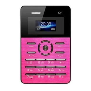 AEKU Qmart Q1 Card Mobile Phone, Network: 2G, Low Radiation Healthier, 4.0mm Ultra Thin Pocket Mini Slim Card Phone, 1.0 inch, GPRS, BT, FM, Alarm(Magenta)