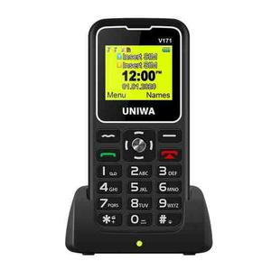 UNIWA V171 Mobile Phone, 1.77 inch, 1000mAh Battery, 21 Keys, Support Bluetooth, FM, MP3, MP4, GSM, Dual SIM, with Docking Base (Black)
