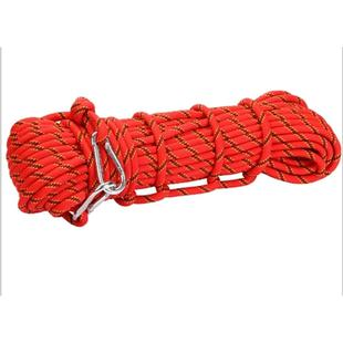 Climbing Auxiliary Rope Static Rope Safety Rescue Rope, Length: 15m Diameter: 10mm(Red)