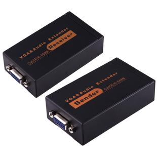VGA & Audio Extender 1920x1440 HD 100m Cat5e / 6-568B Network Cable Sender Receiver Adapter(Black)
