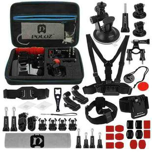 PULUZ 45 in 1 Accessories Ultimate Combo Kits with EVA Case (Chest Strap + Suction Cup Mount + 3-Way Pivot Arms + J-Hook Buckle + Wrist Strap + Helmet Strap + Surface Mounts + Tripod Adapter + Storage Bag + Handlebar Mount + Wrench) for GoPro HERO9 Black / HERO8 Black / HERO7 /6 /5 /5 Session /4 Session /4 /3+ /3 /2 /1, DJI Osmo Action and Other Action Cameras