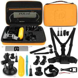 [US Warehouse] PULUZ 20 in 1 Accessories Combo Kits with Orange EVA Case (Chest Strap + Head Strap + Suction Cup Mount + 3-Way Pivot Arm + J-Hook Buckles + Extendable Monopod + Tripod Adapter + Bobber Hand Grip + Storage Bag + Wrench) for GoPro HERO9 Black / HERO8 Black / HERO7 /6 /5 /5 Session /4 Session /4 /3+ /3 /2 /1, DJI Osmo Action and Other Action Cameras