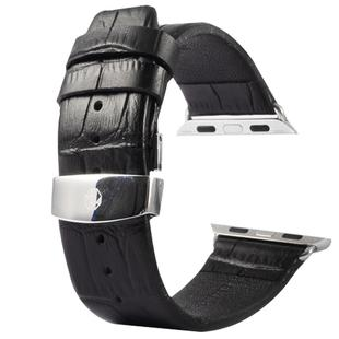 Kakapi for Apple Watch 38mm Crocodile Texture Double Buckle Genuine Leather Watchband with Connector(Black)