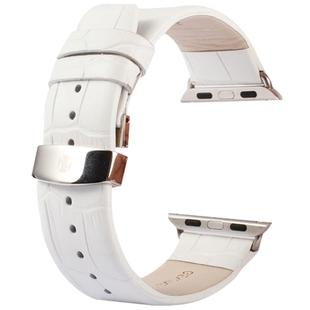 Kakapi for Apple Watch 38mm Crocodile Texture Double Buckle Genuine Leather Watchband with Connector(White)