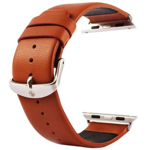 Kakapi for Apple Watch 38mm Subtle Texture Classic Buckle Genuine Leather Watchband with Connector(Brown)