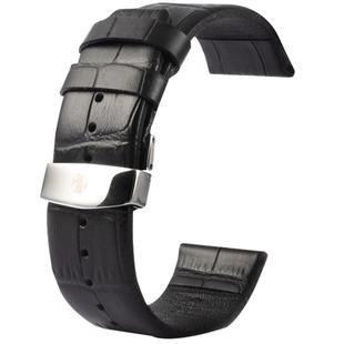 Kakapi for Apple Watch 42mm Crocodile Texture Double Buckle Genuine Leather Watchband, Only Used in Conjunction with Connectors (S-AW-3293)(Black)