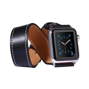 For Apple Watch 42mm Double Circle Style Metal Buckle Cowhide Leather Watchband with Connector(Black)