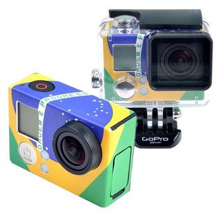 Retro Brazil Flag Pattern Case Sticker for GoPro HERO3+ /3