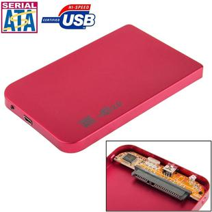 2.5 inch SATA HDD External Case, Size: 126mm x 75mm x 13mm (Red)