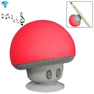 Mushroom Shape Bluetooth Speaker, with Suction Holder(Red)