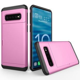 Shockproof Rugged Armor Protective Case for Galaxy S10+, with Card Slot (Pink)