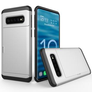 Shockproof Rugged Armor Protective Case for Galaxy S10+, with Card Slot (Silver)
