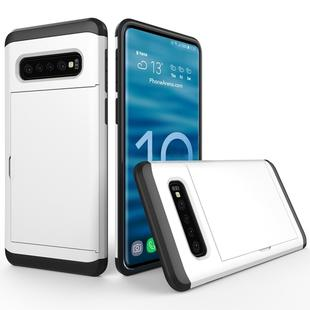 Shockproof Rugged Armor Protective Case for Galaxy S10+, with Card Slot (White)