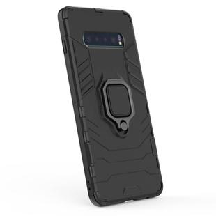 PC + TPU Shockproof Protective Case for Samsung Galaxy S10 Plus, with Magnetic Ring Holder(Black)