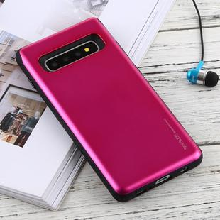 GOOSPERY Sky Slide Bumper TPU + PC Case for Galaxy S10+, with Card Slot(Rose Red)
