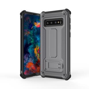 Ultra-thin Shockproof PC + TPU Armor Protective Case for Galaxy S10+, with Holder (Grey)