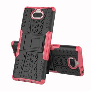 Tire Texture TPU+PC Shockproof Case for Sony Xperia XA3, with Holder (Pink)
