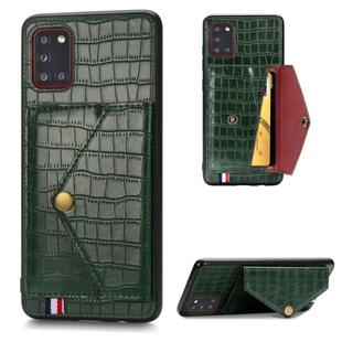 For Samsung Galaxy A31 Crocodile Pattern Envelope Card Package Phone Case With Magnet And Bracket Function(Green)