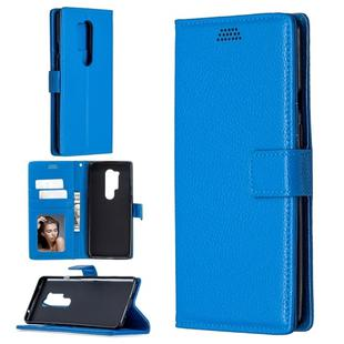 For OnePlus 8 Pro Litchi Texture Horizontal Flip Leather Case with Holder & Card Slots & Wallet & Photo Frame(Blue)
