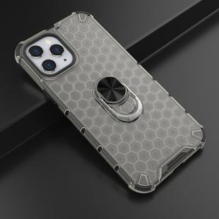 For iPhone 12 / 12 Pro Shockproof Honeycomb PC + TPU Ring Holder Protection Case(Grey)