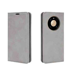 For Huawei Mate 40 Pro Retro-skin Business Magnetic Suction Leather Case with Holder & Card Slots & Wallet(Grey)