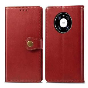 For Huawei Mate 40 Pro Retro Solid Color Leather Buckle Phone Case with Lanyard & Photo Frame & Card Slot & Wallet & Stand Function(Red)