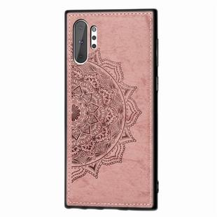 Embossed Mandala Pattern Magnetic PC + TPU + Fabric Shockproof Case for Galaxy Note10+, with Lanyard(Rose Gold)
